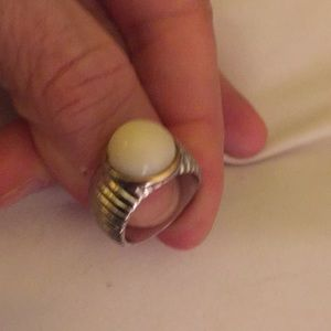 Sterling silver ring with white cabachon stone